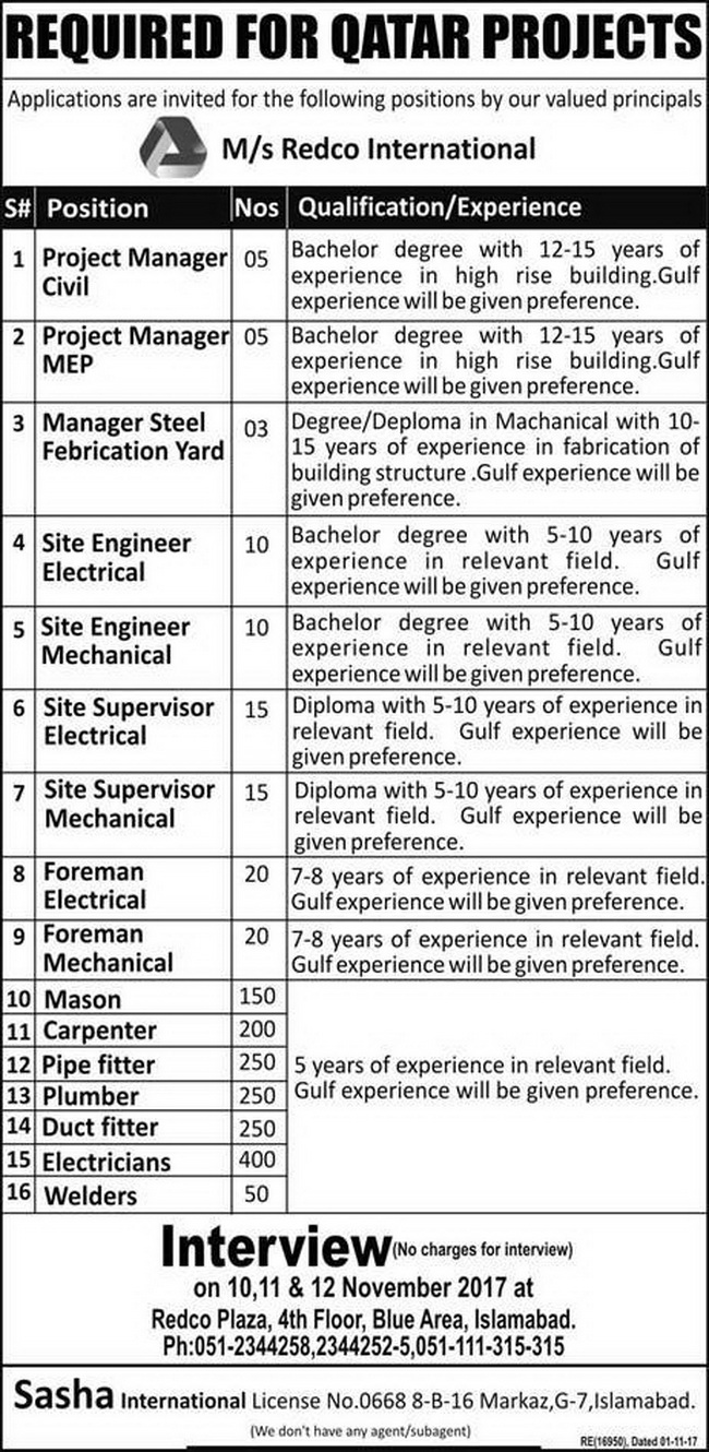 REDCO International Company for Qatar jobs 2017