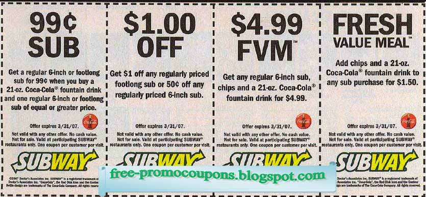 Subway discount coupons for legoland