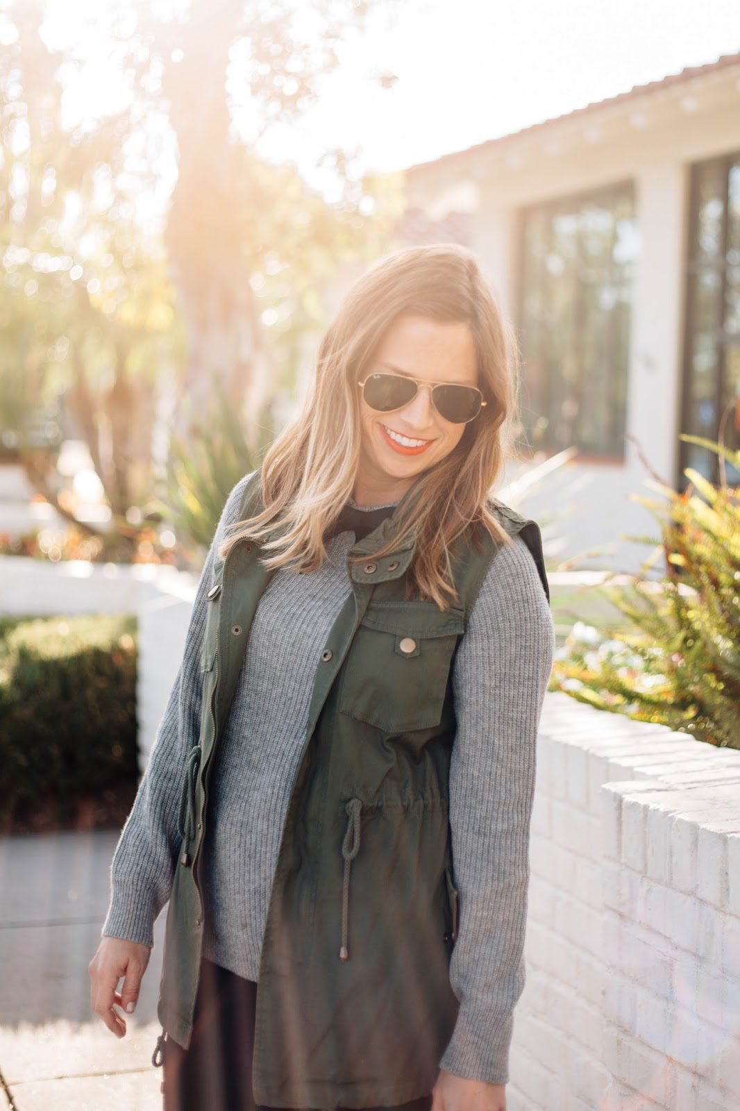 vest and sweater outfit
