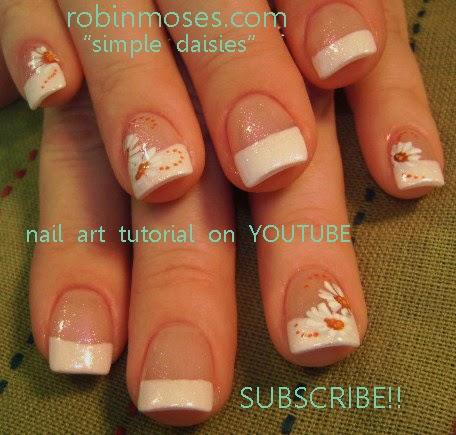Nail Art By Robin Moses Orange Flowers Nail Art Orange Flower