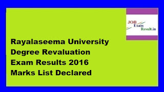 Rayalaseema University Degree Revaluation Exam Results 2016 Marks List Declared