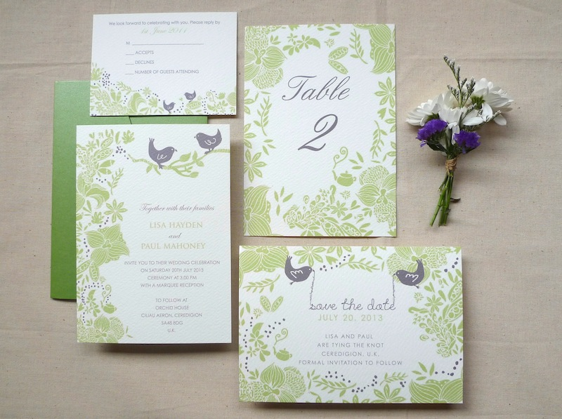 Garden Wedding Invitations: Kalo Make Art Bespoke Wedding Invitation Designs: In House