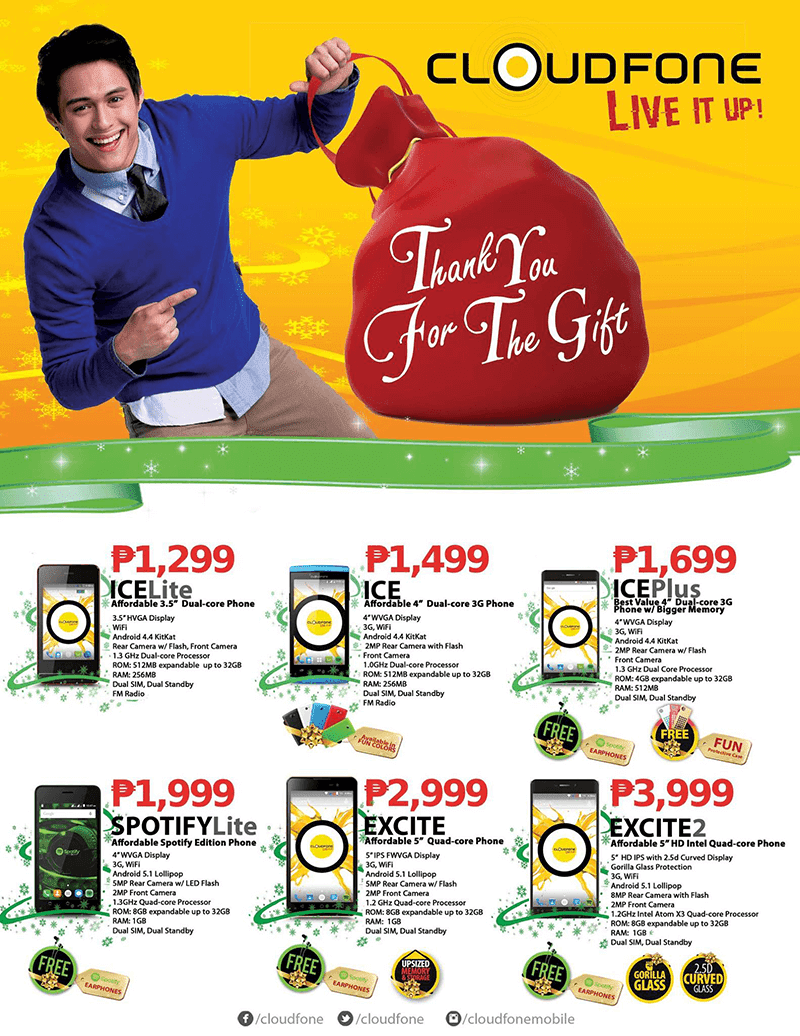 CloudFone Announced 6 New Super Budget Phones! Includes Spotify Lite At 1999 Pesos Only!
