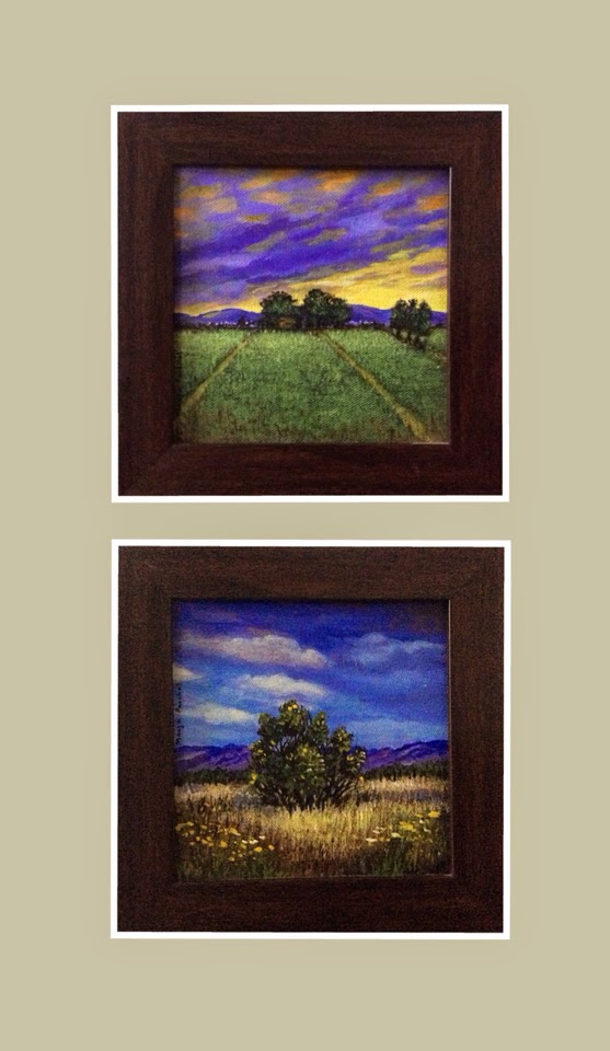 "Two 6"" X 6"" acrylic paintings on canvas by Manju Panchal"