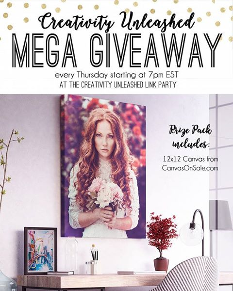 Enter to win a 12x12 Canvas from Canvas On Sale, plus the Creativity Unleashed link party at MyLove2Create