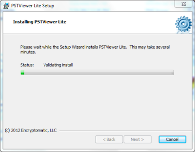 The installation process begins for EmlViewer Lite. A progress bar is displayed on screen.