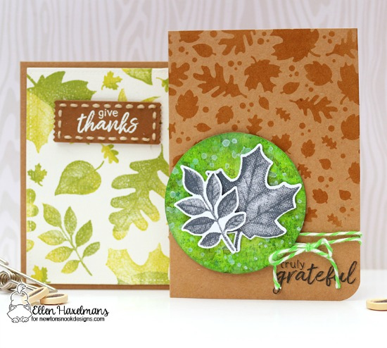 Fall Leaf Cards by Ellen Haxelmans | Shades of Autumn Stamp Set and Falling Leaves Stencil by Newton's Nook Designs #newtonsnook #handmade