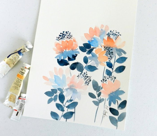original watercolor flower paintings by Elise Engh.  Fire Flowers in blue and orange.