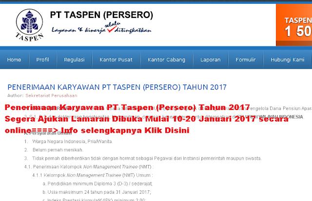 Hasil gambar untuk lowongan kerja pt taspen