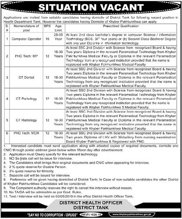 Govt Vacancies in District Health Officer Tank April 2019