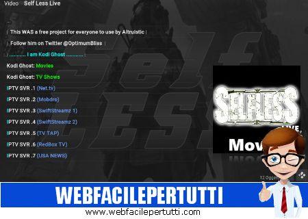 Self Less Live Kodi Add on - Canali TV di TVTAP Pro , LiveNet TV, Mobdro e non solo