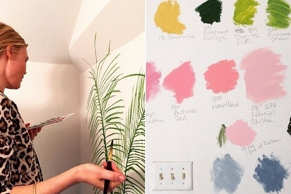 Painting fern mural at motel in L.A. artist and stylemaker Kate Schelter