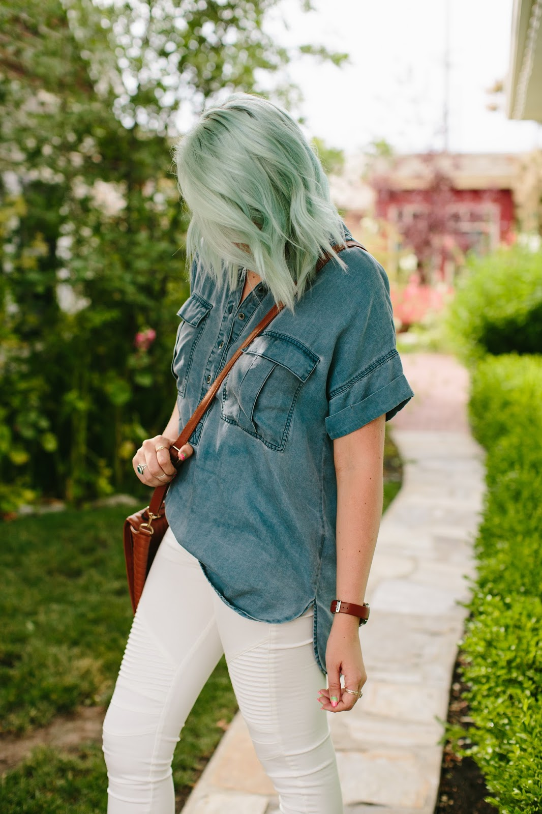 Blue hair, Mint Hair, denim top