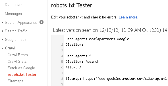 Search Console robots.txt Tester