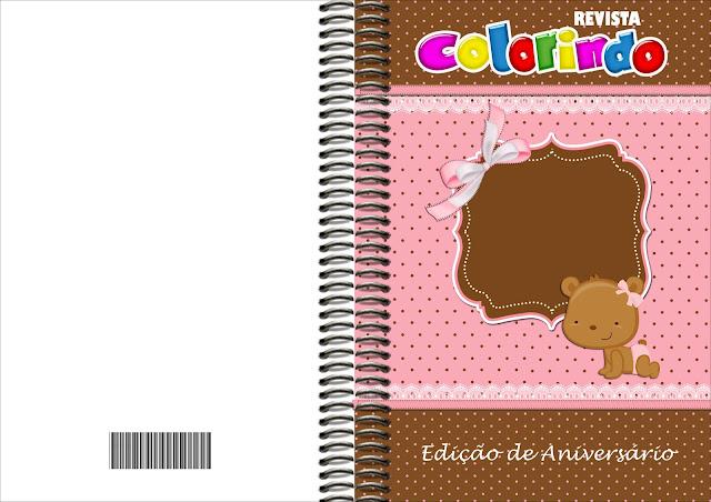 Imprimible carátula de libro para colorear de Osita Bebé.
