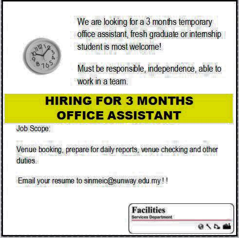 Sunway University Hiring 3 Months Office Assistant / Intern