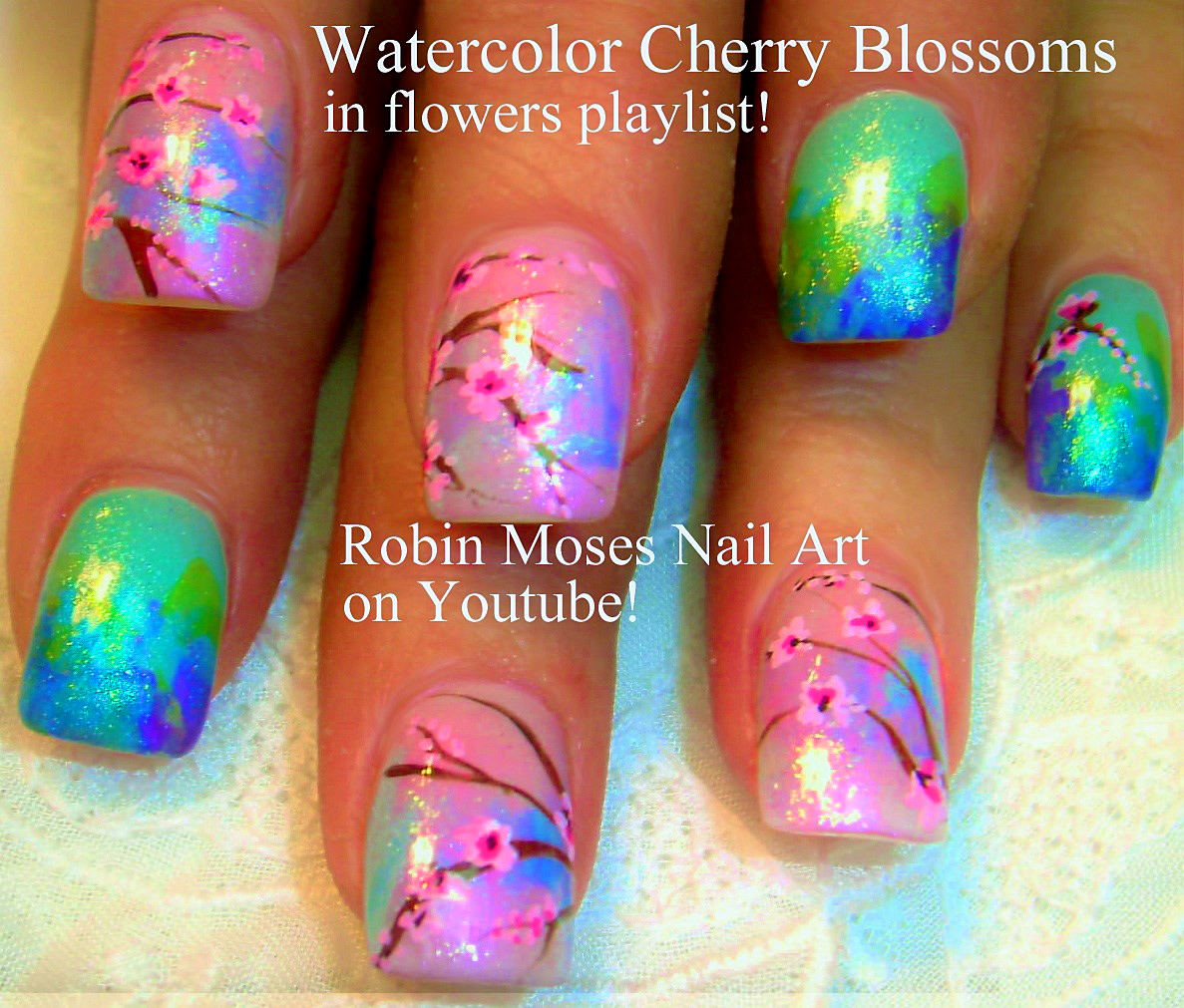 Robin moses nail art cherry blossom nail art 2016 full length mint cherry blossom nail art design tutorial prinsesfo Gallery