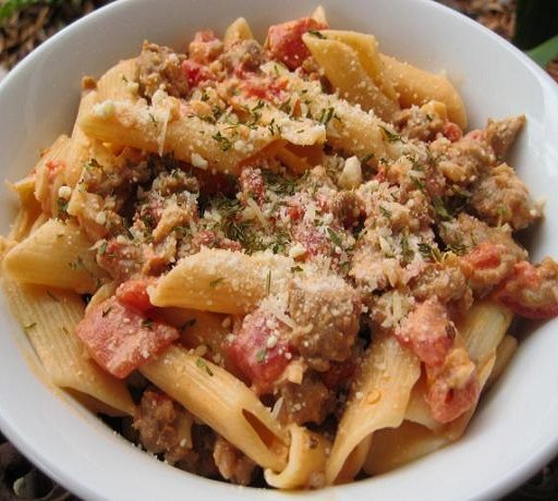 Pasta with Sausage, Tomatoes, and Cream  Read