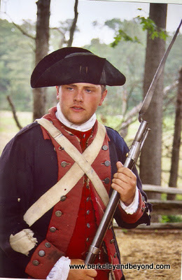 costumed soldier at Yorktown Victory Center in Virginia