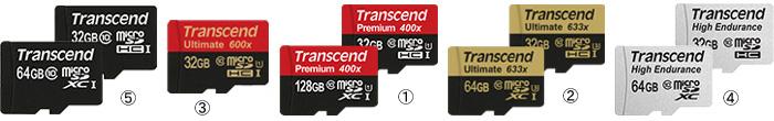 トランセンド製マイクロSDカードの主力商品ラインナップ