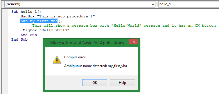 How to create a Sub Procedure in Excel VBA