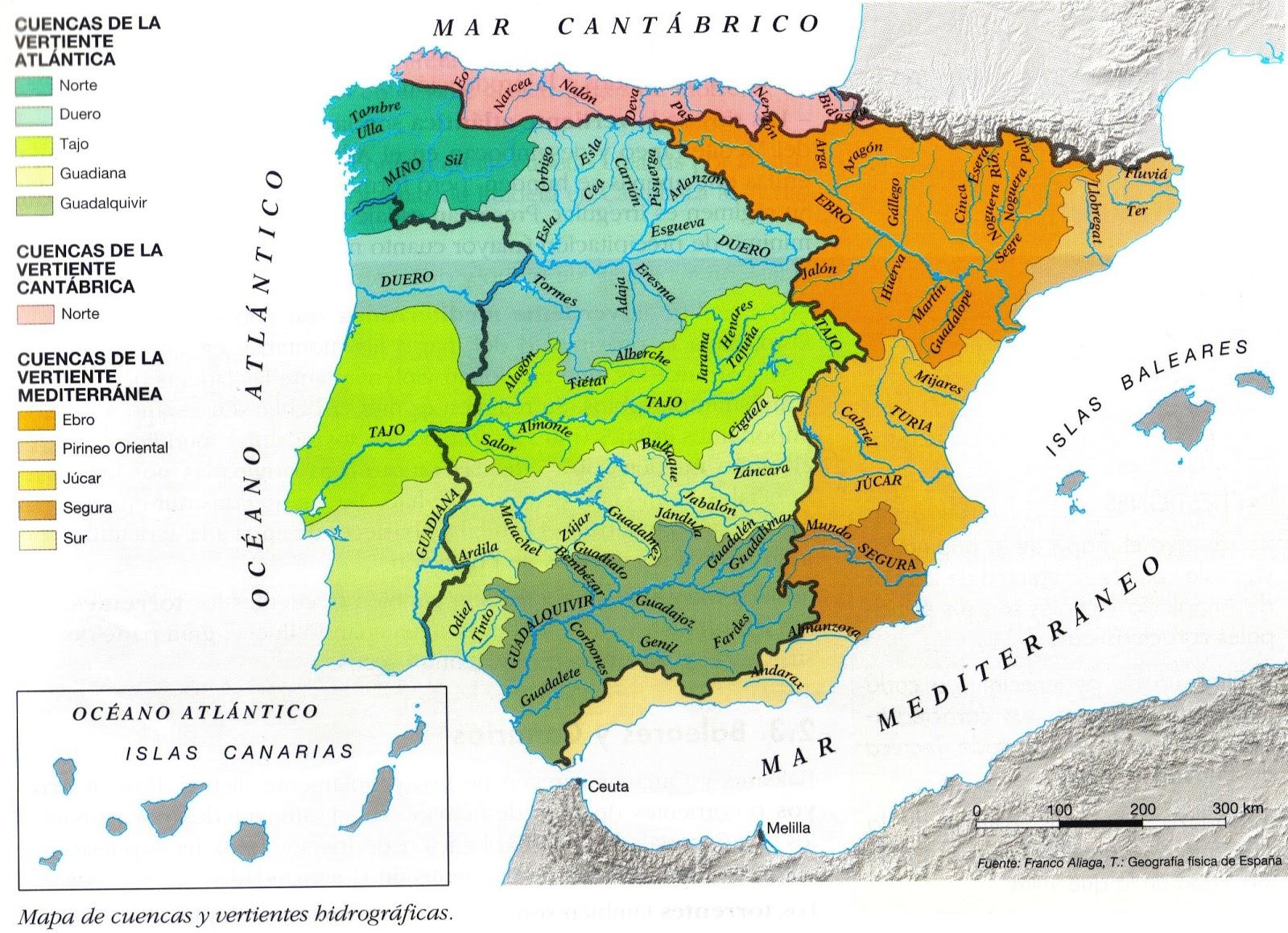 Mapa Hidrografico De España.Mapa Hidrografico De Espana