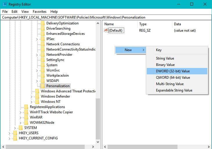 rename to nolockscreen in registry editor