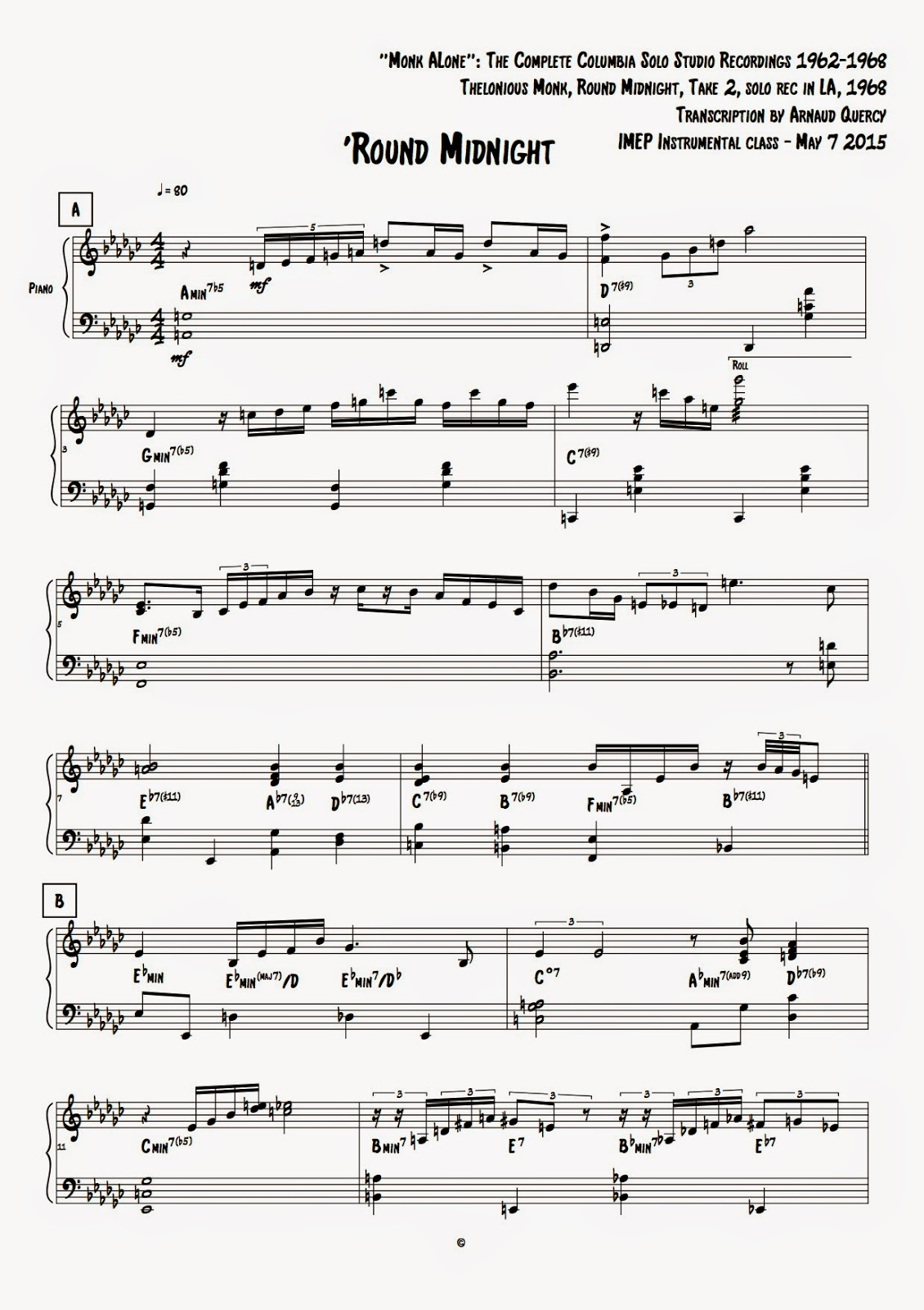 Round Midnight (Monk Alone)- Transcription By Arnaud Quercy - Month