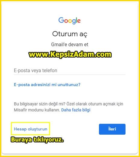 Gmail Hesabı Açma Gmail eposta açma google mail açma resimli