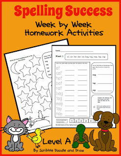 Spelling worksheets for an entire year