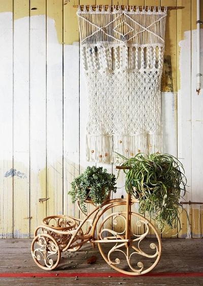 Sepeda roda tiga yang terbuat dari rotan, difungsikan sebagai pot bunga indoor.