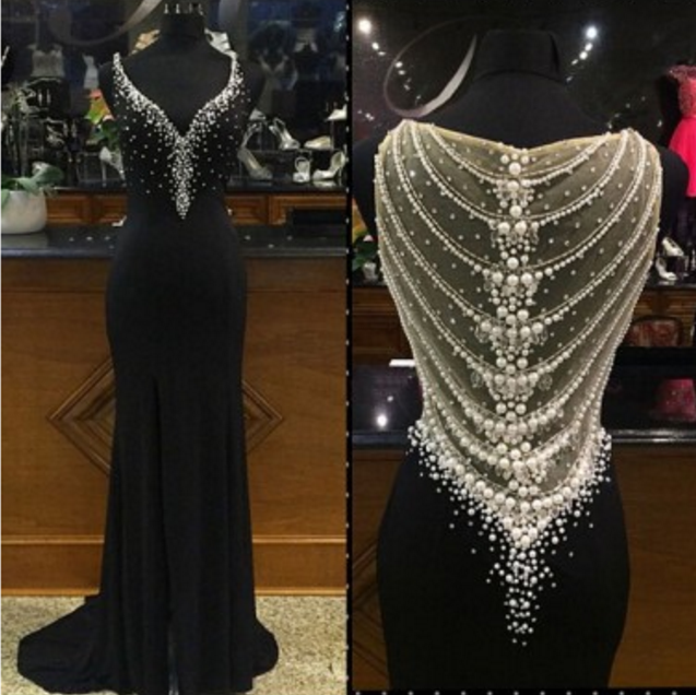 Trumpet/Mermaid Straps Sweep/Brush Train Chiffon Black Evening Dresses #SP8228