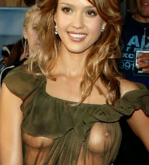 Jessica alba flashes nipples in a see