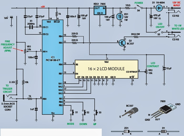 Digital Rpm Meter Wiring Diagram 1999 Gmc Sierra Headlight Led Circuit An Stroboscope Schematic Strobe And Tachometer Electronic Project