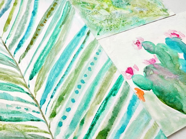 watercolor palm leaf and cactus paintings by Elise Engh