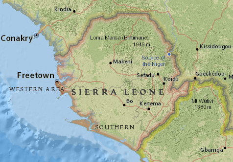 Map of Sierra Leone from National Geographic MapMaker Interactive
