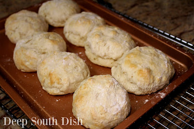 Baking powder biscuits, made with buttermilk and butter, and hand formed.