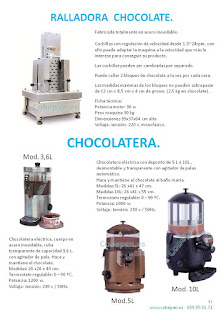 Ralladora chocolates, Chocolateras.
