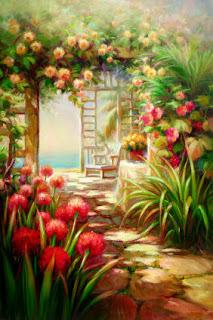 картина красочного сада с цветущими растениями