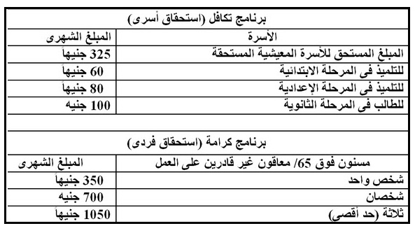 الحكومة المصرية تقرر صرف معاش شهرى بمبالغ محددة للمواطنين المصريين بداية من 15 / 1 / 2017