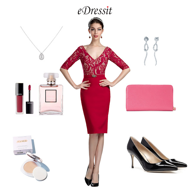 Elegant Red Lace Mother of the Bride/Groom Dress