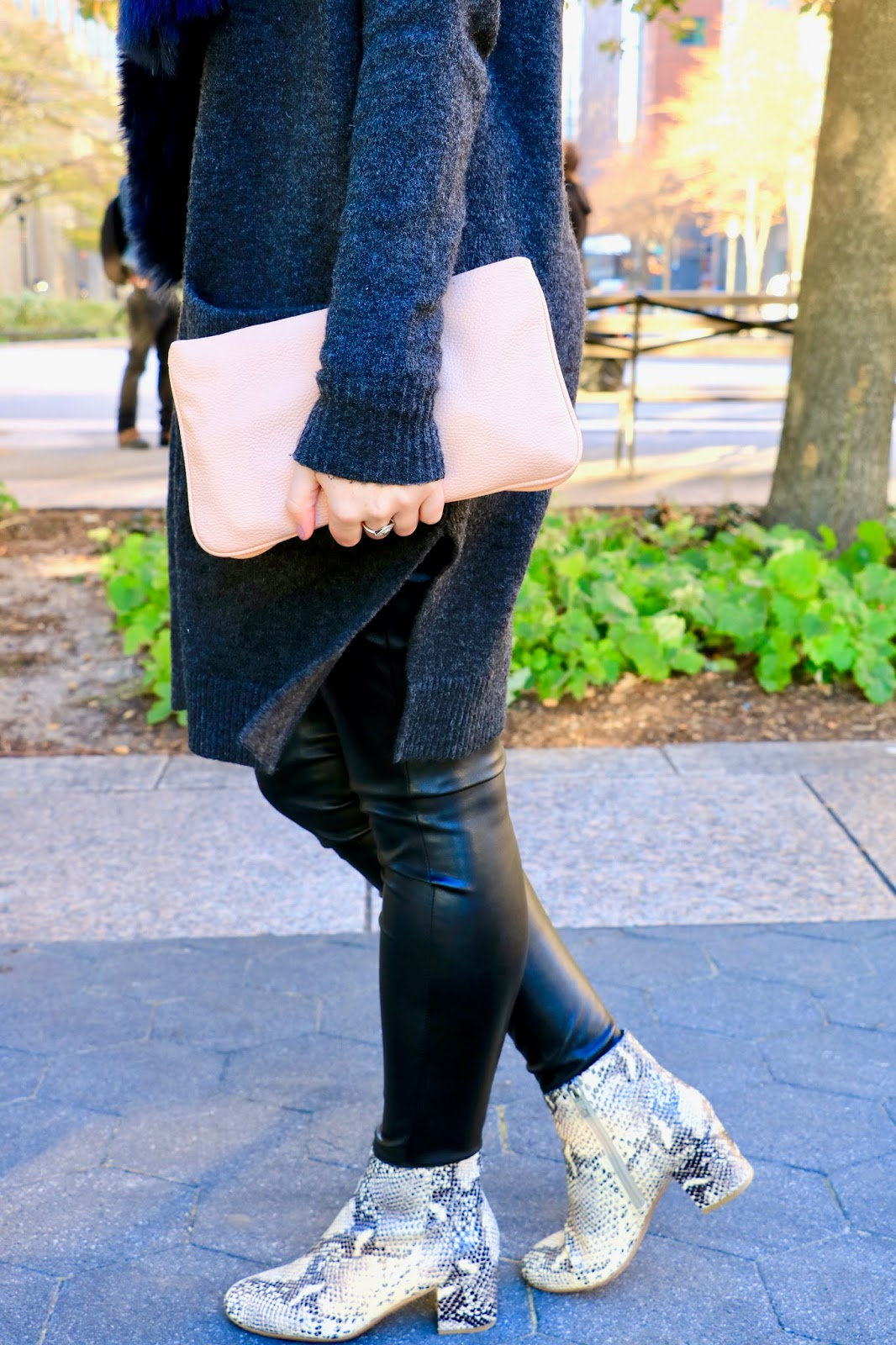 leather leggings oversized sweater