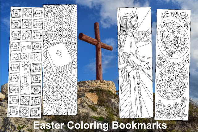 Easter coloring bookmarks for kids and adults