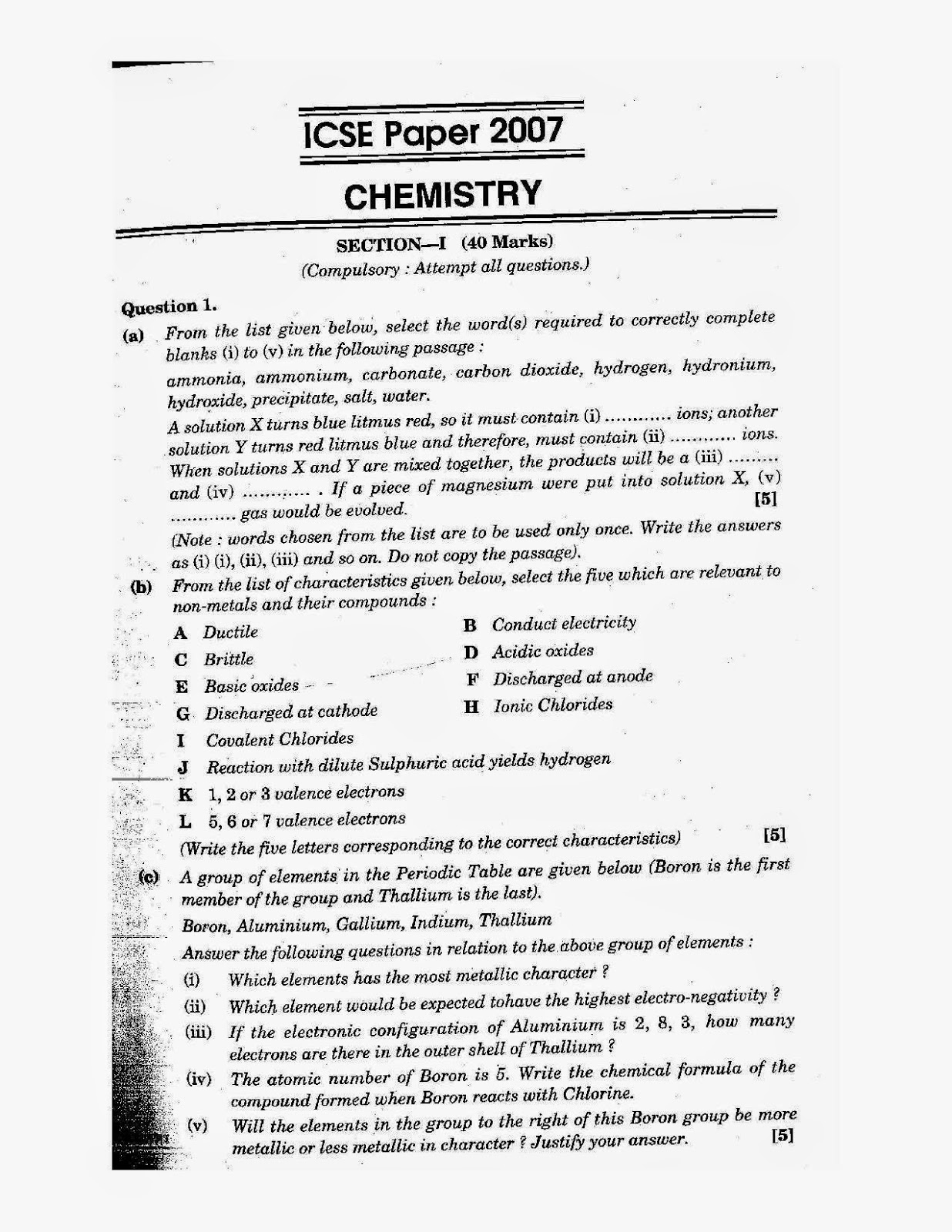 icse class 10th chemistry solved question paper 2007