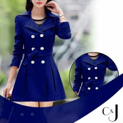 NAVY BLUE TRENCH DOUBLE BUTTON LADIES COAT