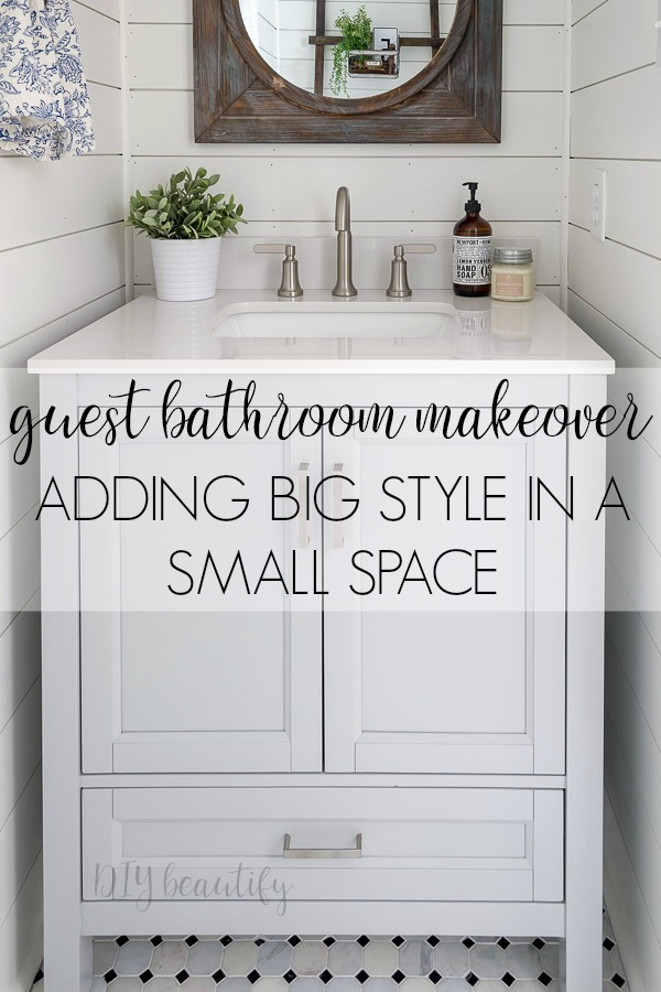 80's drab to modern farmhouse! A full bathroom makeover by DIY beautifiy