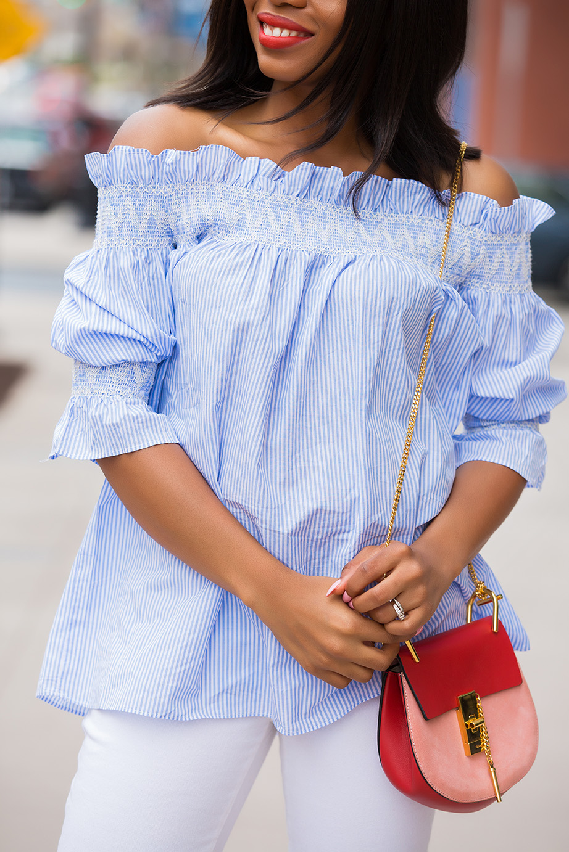 off shoulder stripe top, chloe bag, www.jadore-fashion.com