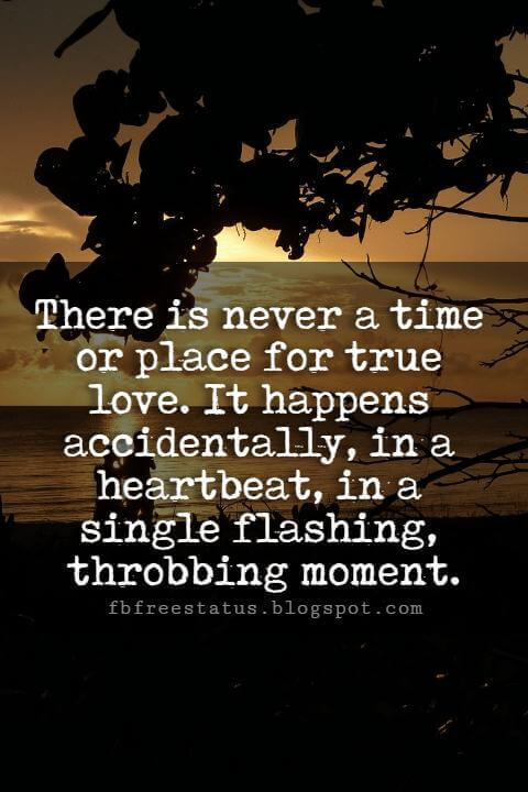 Cute Valentines Day Quotes, There is never a time or place for true love. It happens accidentally, in a heartbeat, in a single flashing, throbbing moment.