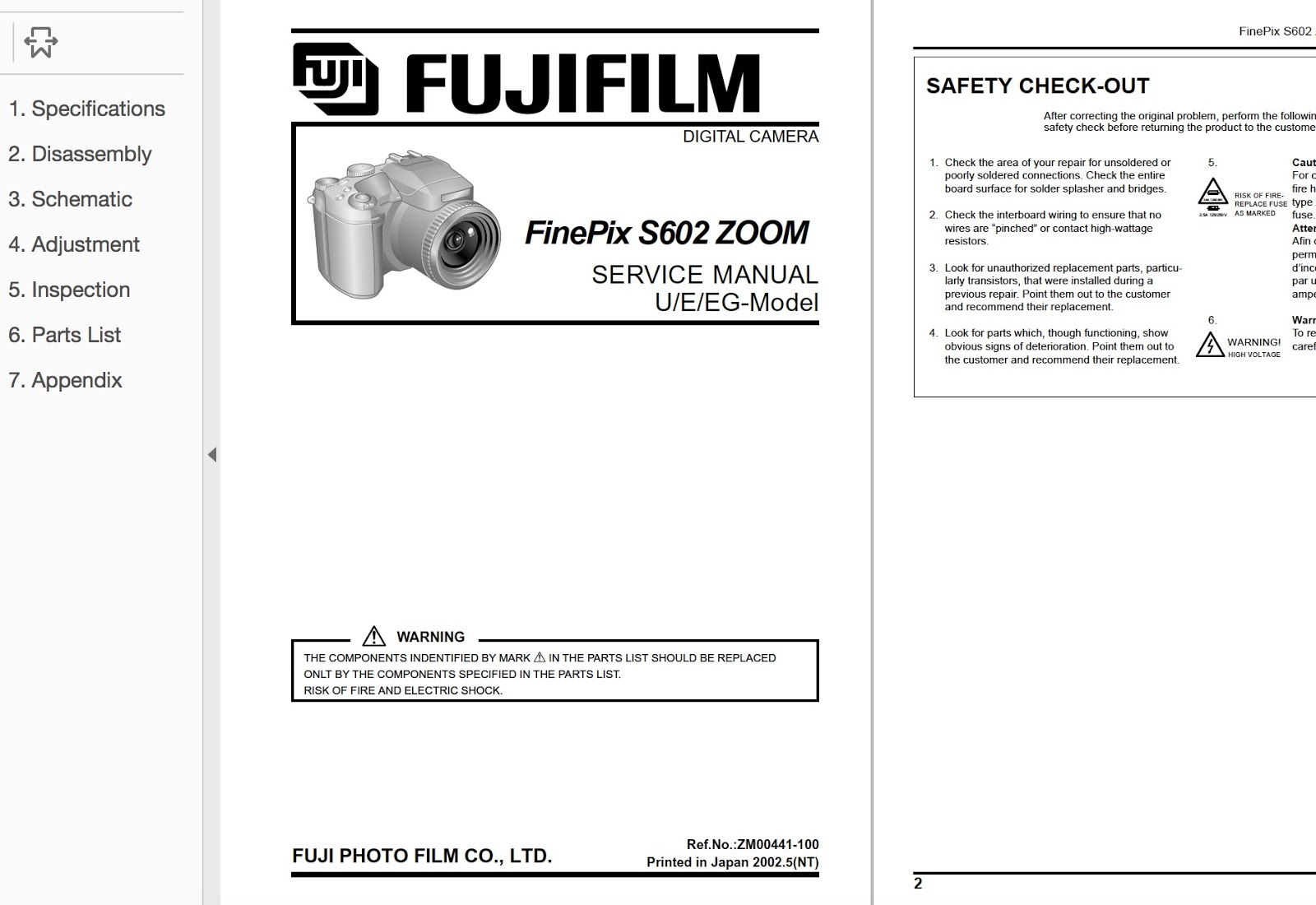 FUJIFILM FinePix S602 Zoom Digital Camera Service Repair Manual