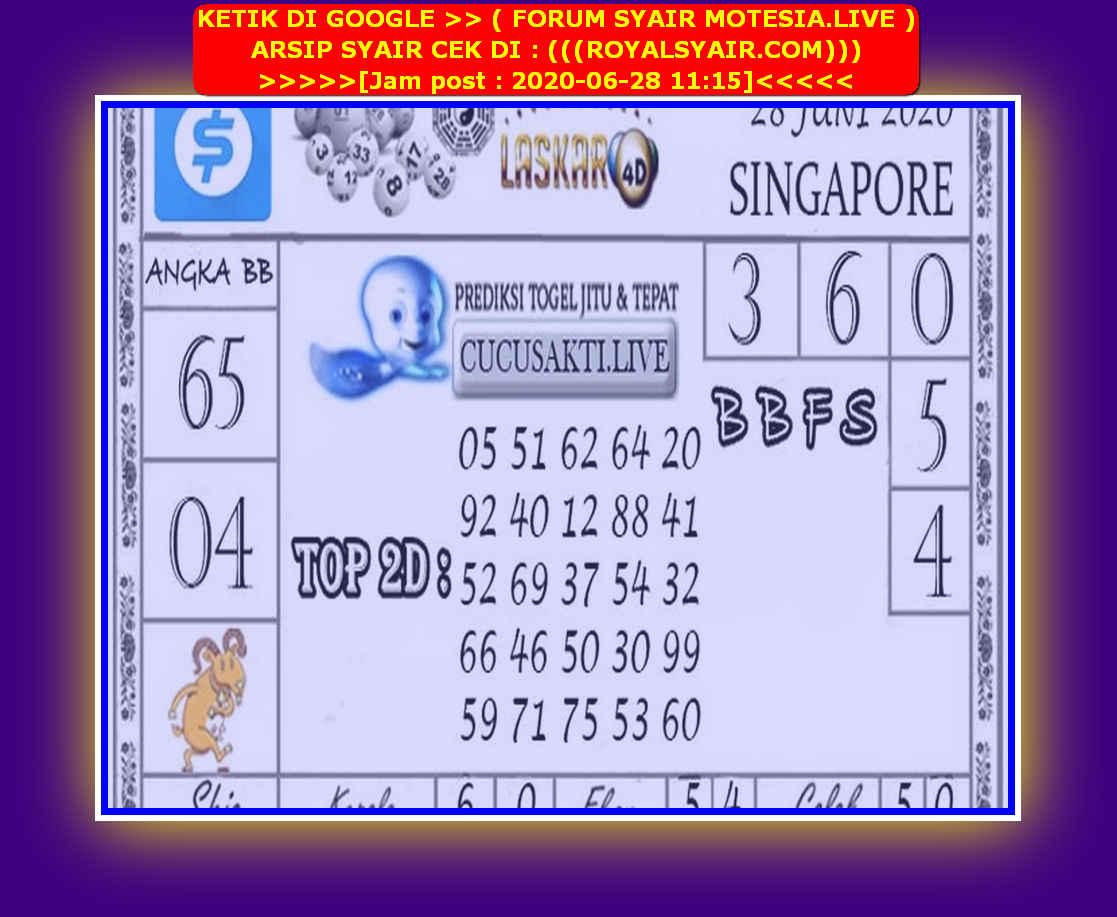 Kode syair Singapore Minggu 28 Juni 2020 142